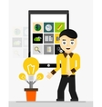 Mobile app startup idea Young businessman showing vector image vector image