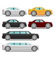 Cartoon cars with big wheels set sedan and limousi vector image