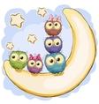 Five Cute Owls vector image