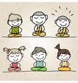 hand drawing cartoon happy life meditation vector image