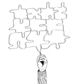 hand drawing puzzle by pen vector image
