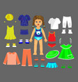 paper doll clothes and set for play and creativity vector image