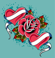 heart rose tattoo vector image