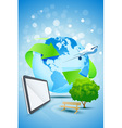 Abstract Background with Planet Earth Airplane and vector image vector image