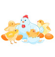 cartoon mother hen sits on the eggs brood of cute vector image