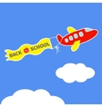 Cartoon red plane Ribbon with words Back to vector image