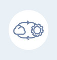cloud technology line icon isolated over white vector image