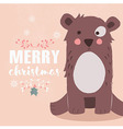 Cute brown bear and Merry Christmas lettering vector image