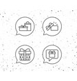 gifts line icons present speech bubble vector image