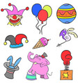 various object circus set doodles vector image