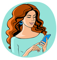 Women with smartphone vector image