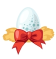 White egg with red ribbon isolated vector image vector image