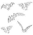 Bats in different positions Pencil sketch by hand vector image