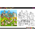 dog characters coloring page vector image vector image