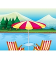 A beach umbrella with chairs vector image