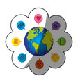sticker colorful realistic world map globe with vector image
