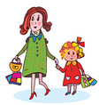Mother and child shopping cartoon vector image