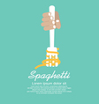 Hand Holding Fork With Spaghetti vector image