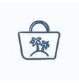 Beach bag sketch icon vector image