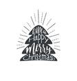 Christmas lettering with fire tree isolated on vector image