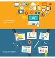 digital marketing and e-commerce flat design vector image