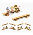 Low poly rough wooden bench vector image