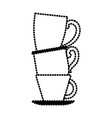 porcelain cup stack silhouette dotted monochrome vector image