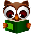 cute owl reading book vector image