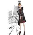 sketch girl Englishwoman vector image