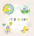 newborn cute parrot set for baby shower cards vector image vector image