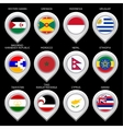 Map marker with flag-set fifteen vector image vector image