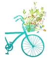 Retro Summer Bike with Bunch of Flowers Card vector image vector image