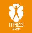 Abstract logo for a fitness club on an orange vector image