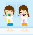 boy and girl clean tooth brush daily cartoon vector image