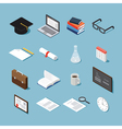 Isometric college objects set vector image