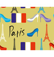 Paris seamless pattern Flag of France and Eiffel vector image