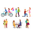 romantic dating couples flat isolated vector image