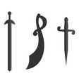 set of historical swords saber silhouettes vector image