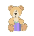 Teddy bear with a gift vector image