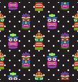 tiki mask seamless polka dot dark pattern vector image