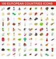 100 european countries icons set isometric style vector image