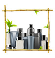 bamboo frame with male cosmetics vector image