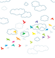 flying birds and clouds vector image