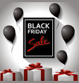 black friday concept template poster with black vector image