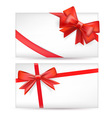 cards with red bows vector image