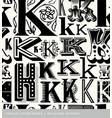 seamless vintage pattern letter K vector image