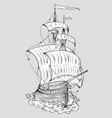 tall ship line art vector image