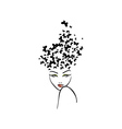 Hairstyle with butterflies vector image