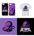 furious octopus sport club isolated logo vector image
