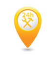 car service 24h icon on yellow pointer vector image